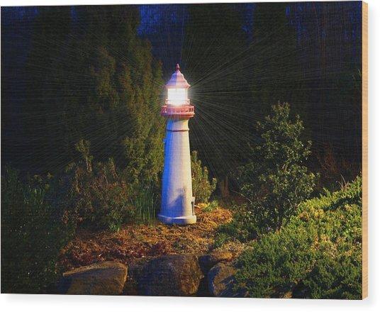 Lit-up Lighthouse Wood Print