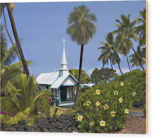 Little Blue Church Kona Wood Print