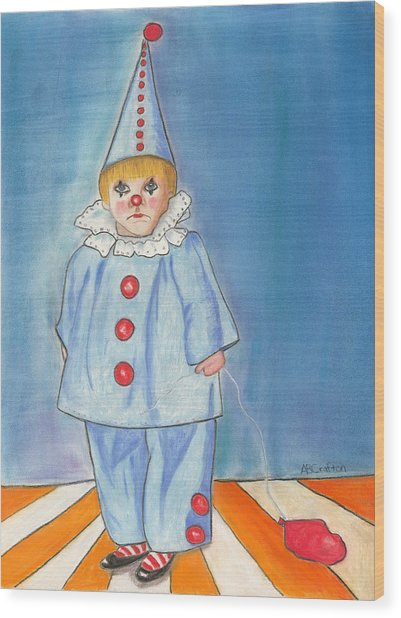 Little Blue Clown Wood Print