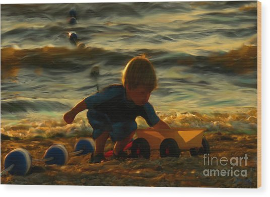 Little Boy On The Beach Wood Print by Jeff Breiman