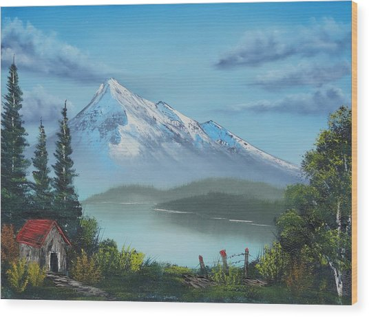 Little Cabin At The Lake Wood Print
