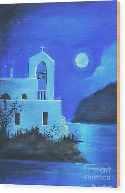 Little Church By The Sea Wood Print