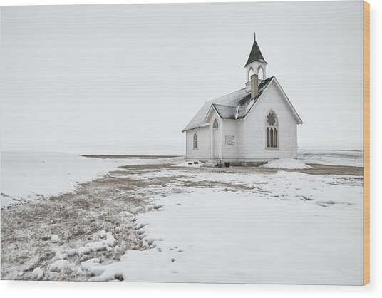 Little Church In The Prairies Wood Print