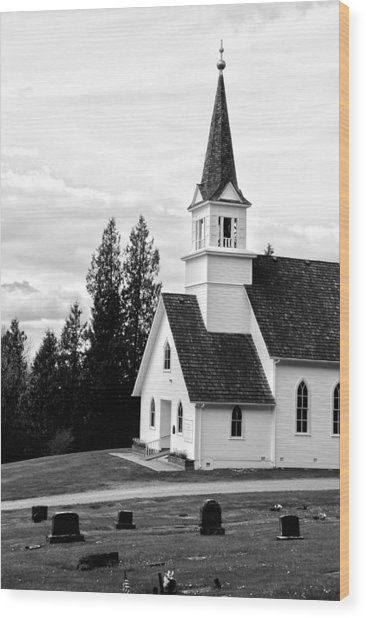 Little Church On The Hill Wood Print by Marv Russell