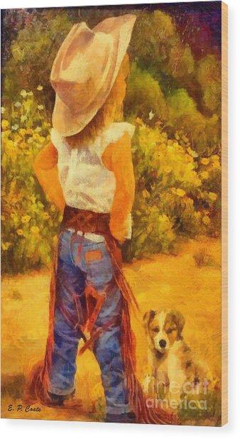 Little Cowgirl Wood Print