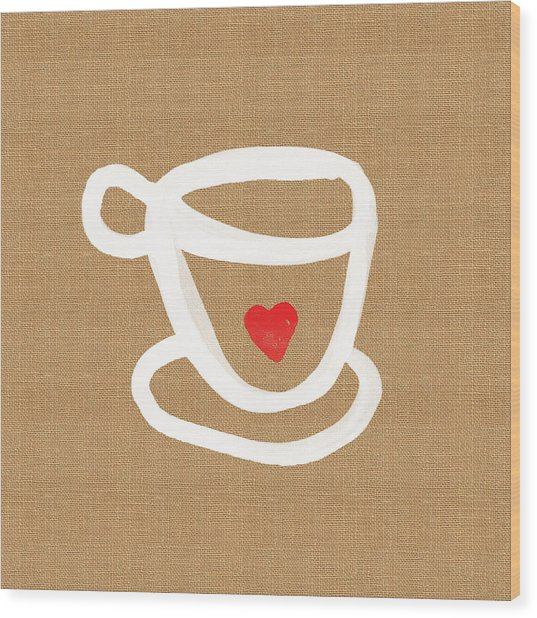 Little Cup Of Love Wood Print