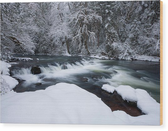 Little Fall Creek Winter Wood Print