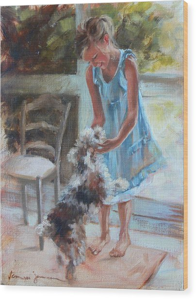 Little Girl And Dog Wood Print