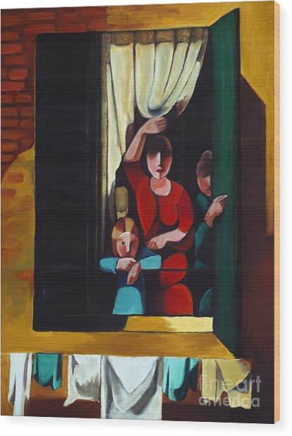 Little Girl At Window Wood Print