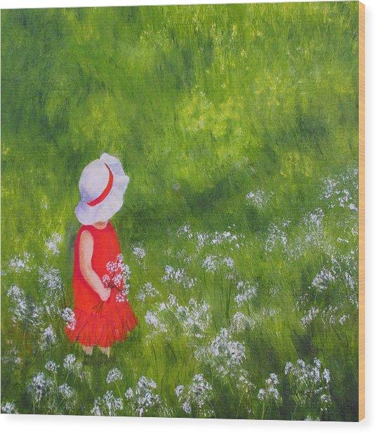 Girl In Meadow Wood Print