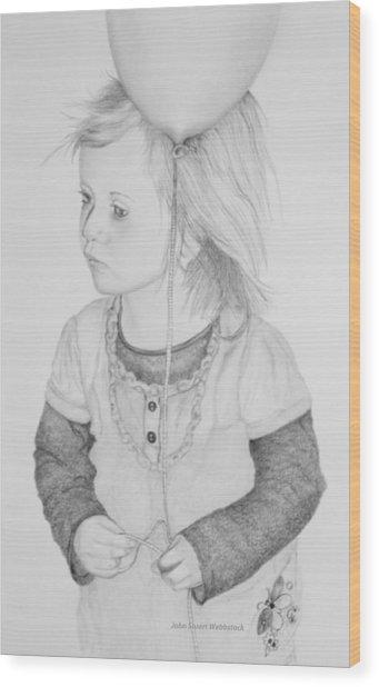 Little Girl With Balloon Wood Print