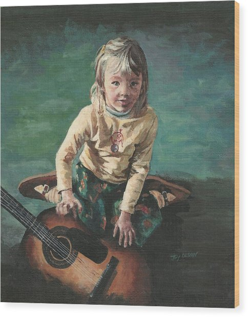 Little Girl With Guitar Wood Print