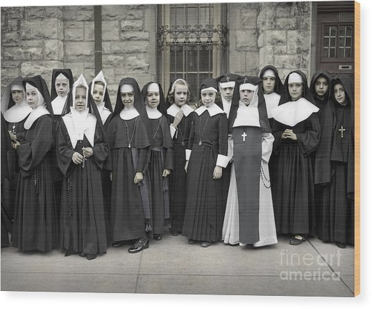 Young Girls Modeling Nun Habits Wood Print