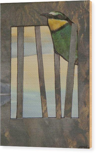 Little Green Bird Wood Print