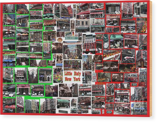 Little Italy Photo Collage Wood Print
