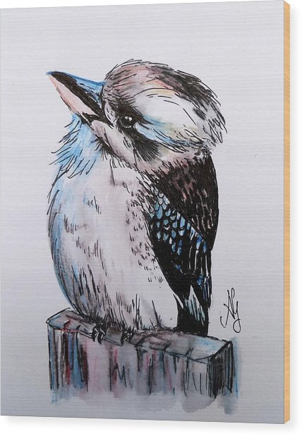Little Kookaburra Wood Print