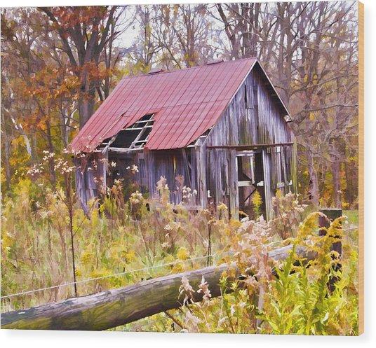 Little Lost Barn Wood Print