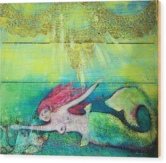 Little Mermaid  Wood Print by Michaela Kraemer