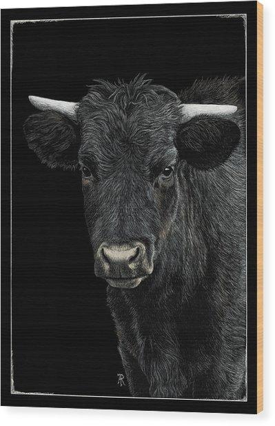 Little Moo Wood Print
