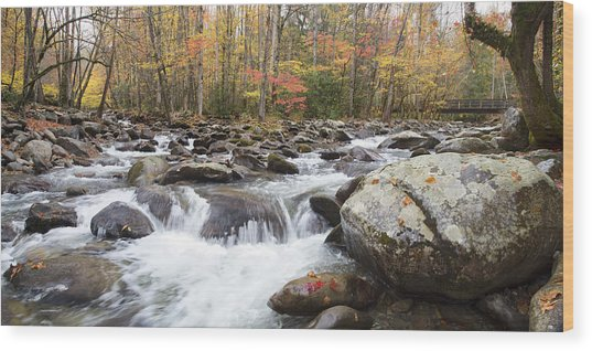 Little Pigeon River Bridge Panorama Wood Print