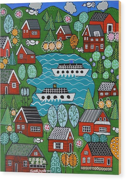 Little Red Norwegian Houses Wood Print