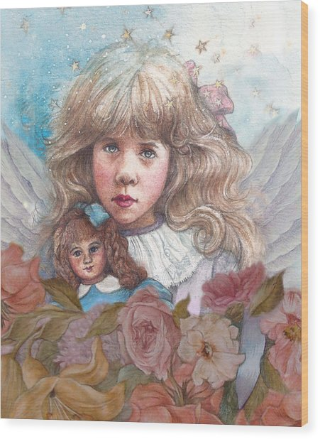Little Rose Angel Wood Print