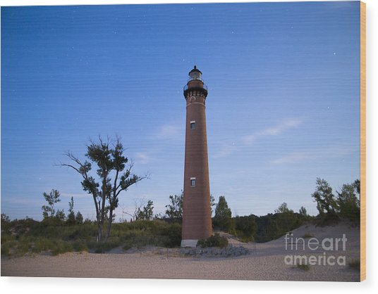 Little Sable Lighthouse By Moonlight Wood Print