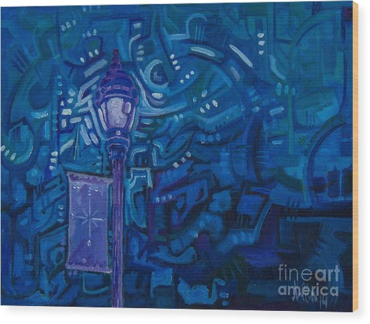 Little Silver Night Light Wood Print