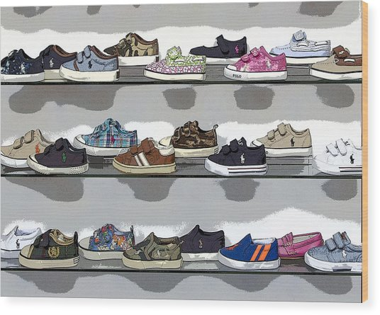 Little Sneakers Wood Print