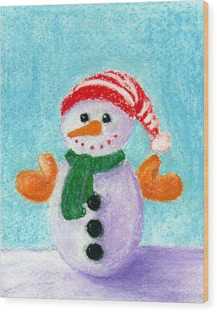 Little Snowman Wood Print