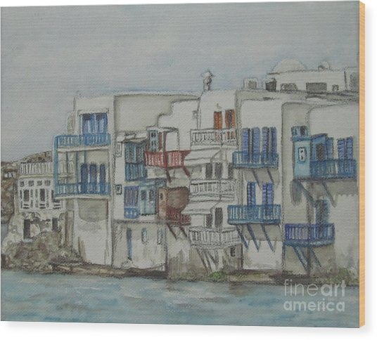 Little Venice Mykonos Greece Wood Print