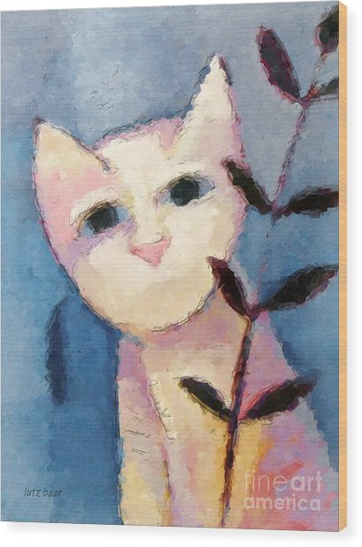 Little White Cat Wood Print