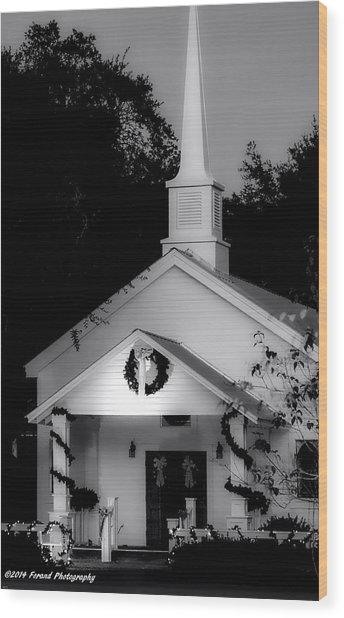 Little White Church Bw Wood Print