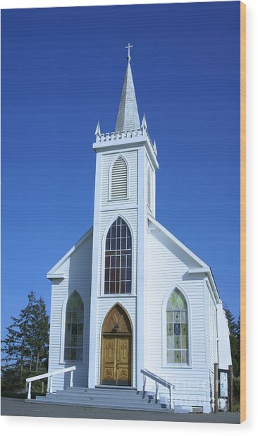 Little White Church In Bodeaga Wood Print