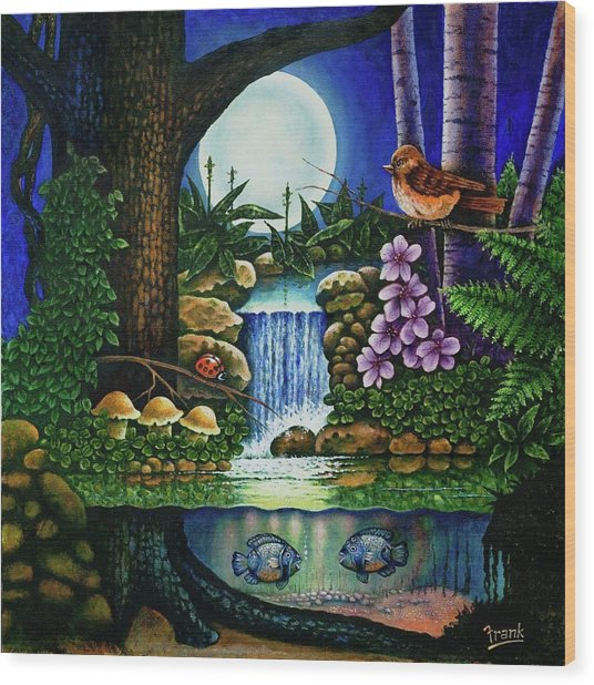 Little World Chapter Full Moon Wood Print