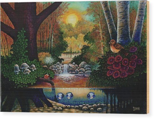 Little World Chapter Sunset Wood Print