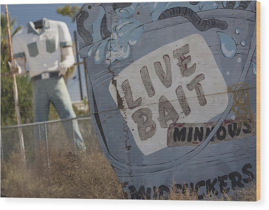 Live Bait And The Man Wood Print