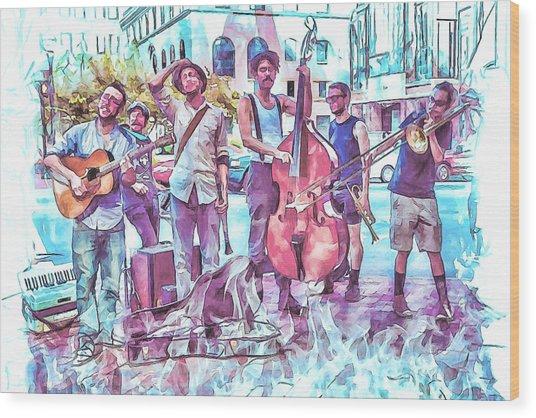 Live Jazz In Asheville Wood Print by John Haldane