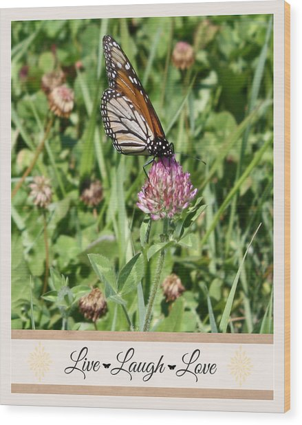 Live Laugh Love Butterfly Wood Print