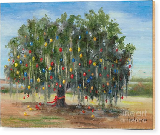 Live Oak Christmas Wood Print