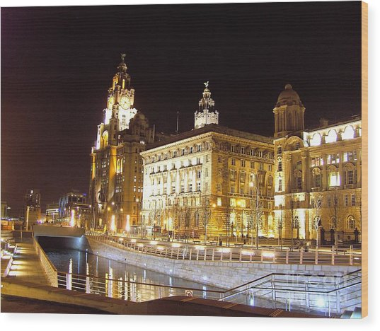 Liver Building And Canal Liverpool Uk Wood Print