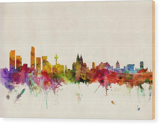 Liverpool England Skyline Wood Print