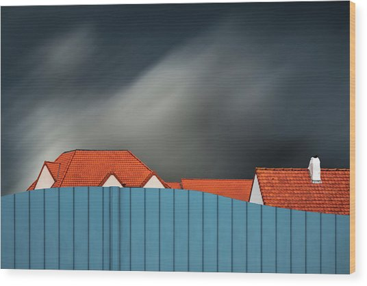 Living Behind The Fence Wood Print by Gilbert Claes