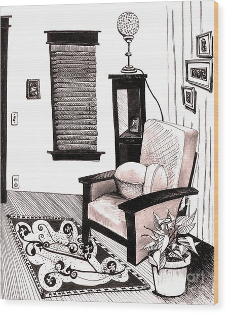Living Room Wood Print by Michele Fritz