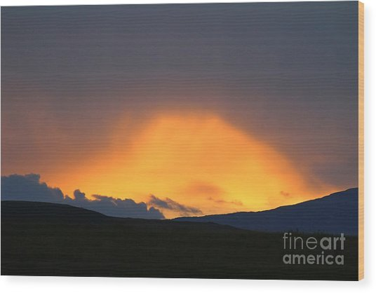 Wood Print featuring the photograph Livingstone Range Sunset by Ann E Robson