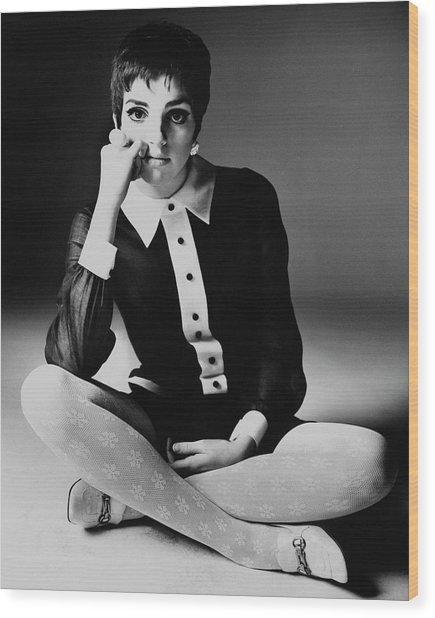 Liza Minnelli Wearing A Joan Arkin Dress Wood Print by Bert Stern