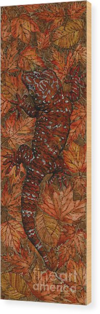 Lizard In Red Nature - Elena Yakubovich Wood Print