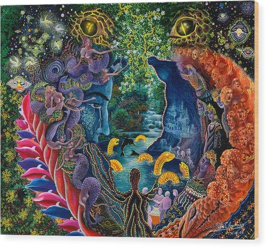 Wood Print featuring the painting Llullon Llaki Supai by Pablo Amaringo