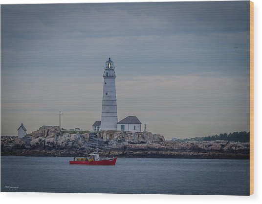 Lobster Boat Passing By Wood Print