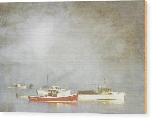 Lobster Boats At Anchor Bar Harbor Maine Wood Print